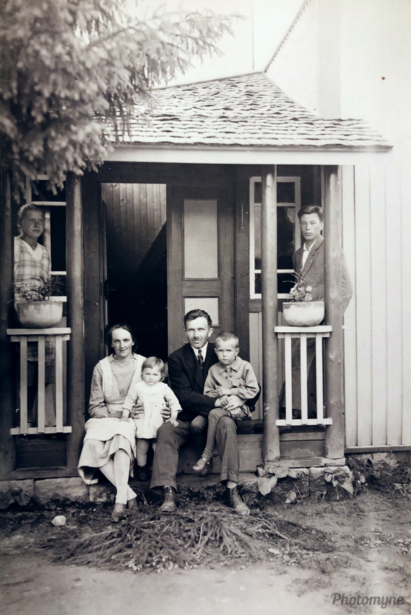 Koivikko (name of the farm), young family and their just built house. My grandparents. Finland 1927