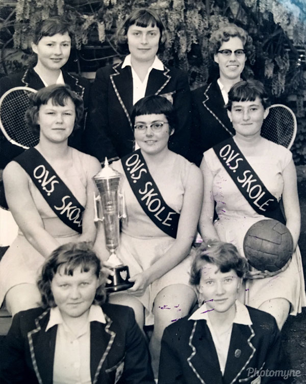 All these girls played different sports for the Free State, I am sitting in the front row on the left, I played hockey with my friend Elsabe. Free State of South Africa 1954