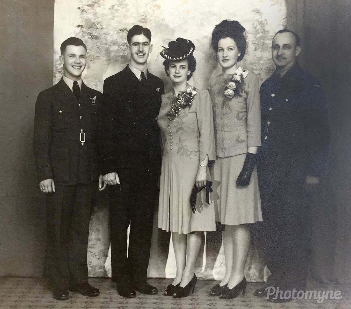My parent's wedding May 31, 1944. Sadly, Dad went overseas shortly after and his Wellington Bomber crashed killing all the crew. Fortunately, my mother was pregnant with me. I was the only child of the 4 men in my dad's family who were all flyers who died in WW2, Portage La Prairie, Manitoba, Canada, 1944