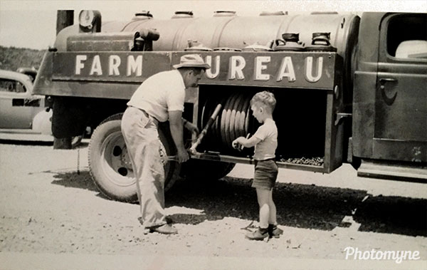 Father and Son going to work. USA 1945