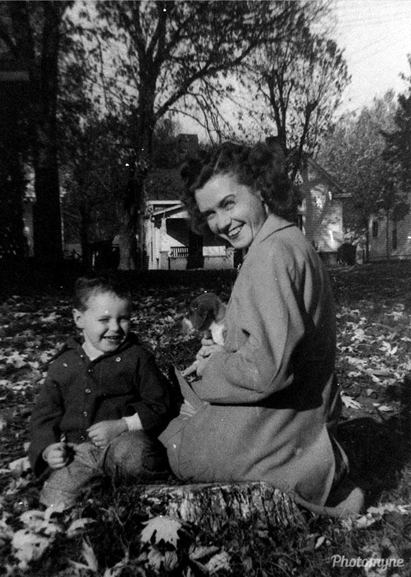 Jim and Mom enjoying a beautiful Fall day. USA 1949
