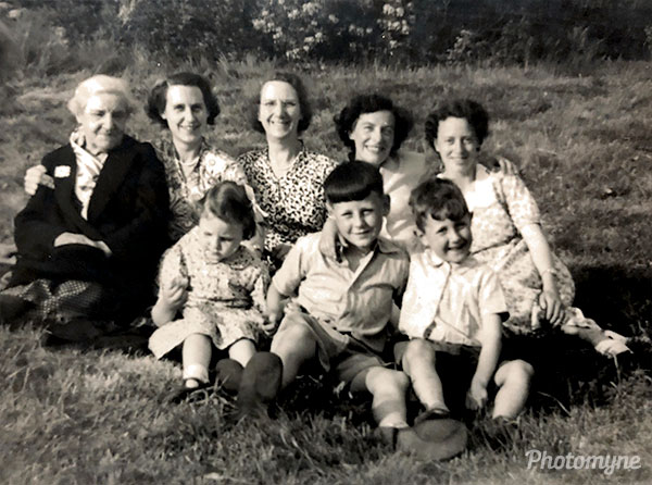 Four Generations in One Photo. Very Special. Great Great Grandmother Nanny Pinnel, her daughter Nanny Zebedee, her daughter Nanny White (our grandmother) and then our parents. Only one person is still alive - Cousin Graham. Great Britain 1951