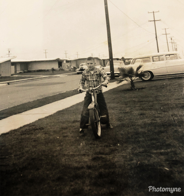 Oakland California, Steve got a new bike. USA 1955