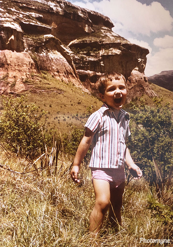 Shouting to test echos of the mountains. South Africa 1981