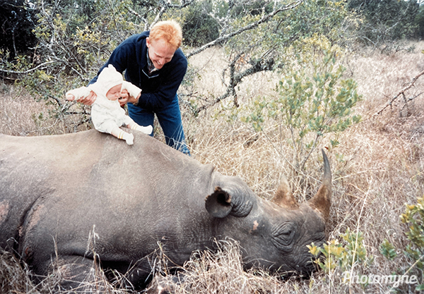 This rhino was being protected by an armed wildlife guard. And very much asleep... Kenya 1990