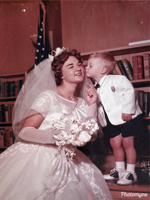 My mom and her brother on her wedding day. USA 1961