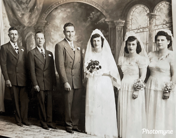 Gorden and Lila's wedding day. USA (date unknown)