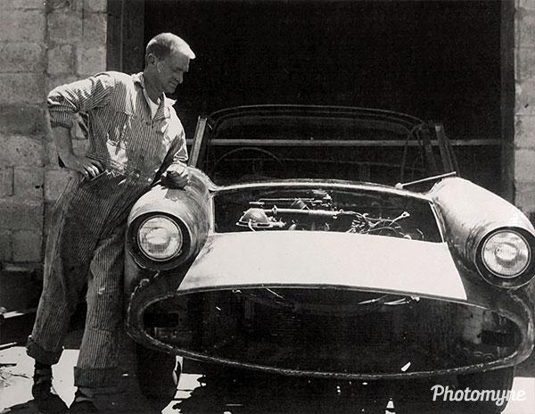 Edward Larsen Building his 1957 Barracuda. USA 1956