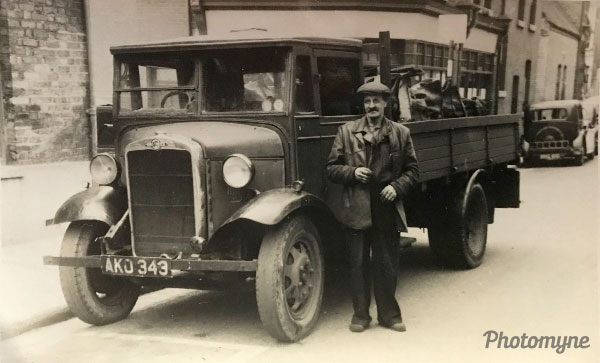 Jack and his first coal lorry. UK 1945