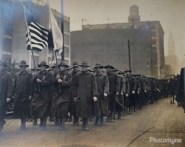 World War I. My grandad carries the Stars and Stripes through Camden, NJ. USA 1917