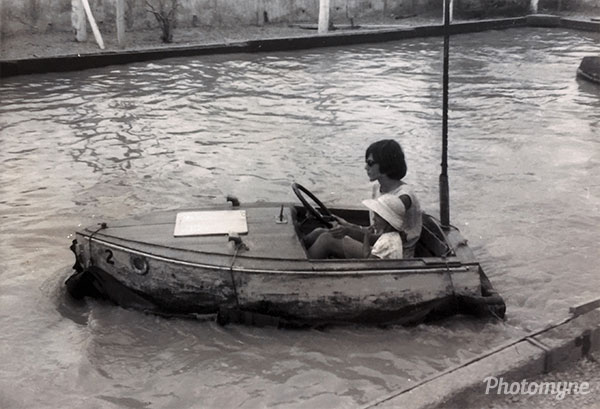 My sister and me on the Bumper Boat at Caroline Bay Carnival. New Zealand 1966