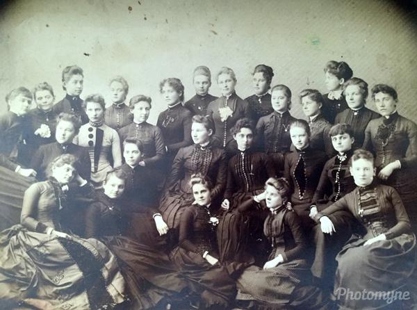 Akron High School, Akron, OH graduation. Ohio, USA 1885
