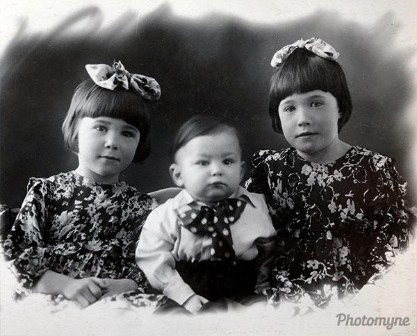 1954 год Третьяковы Нина, Валера, Люда (The Tretyakovs Nina, Valera, Luda). Formerly Soviet Union, today's Russian Federation, 1954