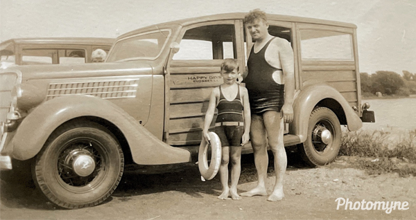 Grampy Arne Gummerus and his son, my dad, Robert Gummerus. How's this for the ultimate men's swimwear? USA (date unknown)