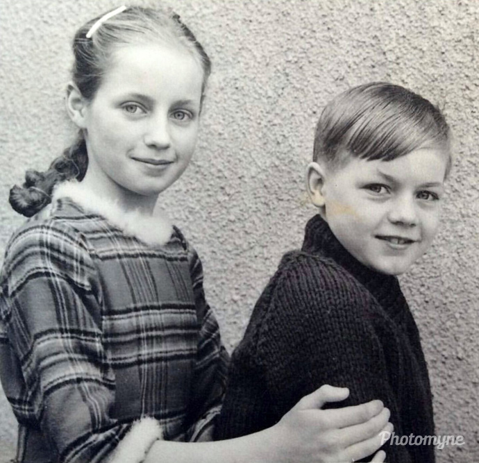 Big sis and I, Largymore Primary School, Lisburn, United Kingdom, 1962