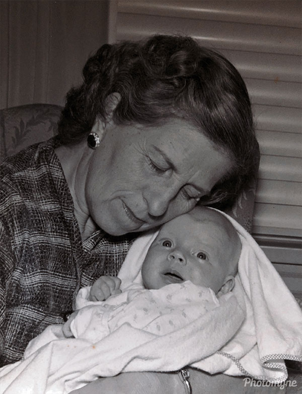 Marge with her 1st grandchild. USA 1954
