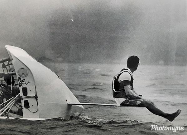 18 skiff broken rudder. Australia (year unknown)