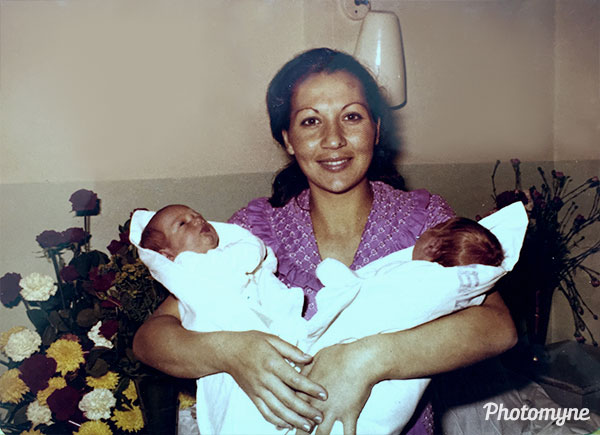 My first time at home. Mom holding me and my twin brother. Tel Aviv, Israel 1975
