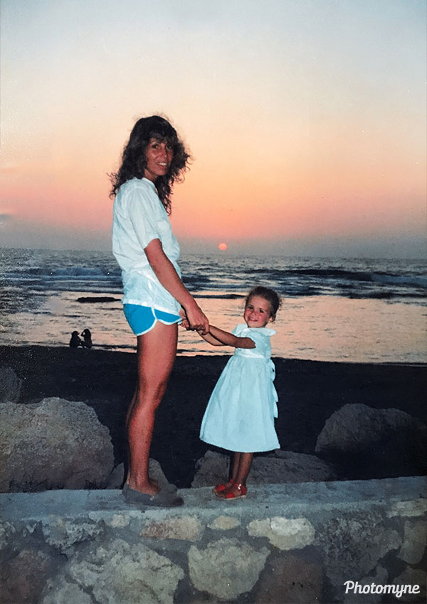 Me and my mom. Sunset in a Tel Aviv beach. Tel Aviv, Israel 1987