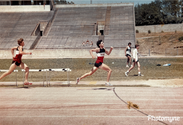 High school state track meet. Michael Greene had just overtaken Perry Oloaf Frunt to win the 880 in Albany, Georgia. USA 1986