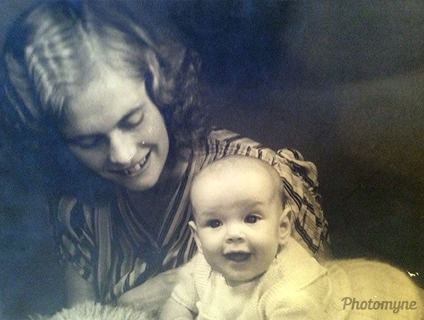 A picture of Oma and mother at two months old. Netherlands 1945