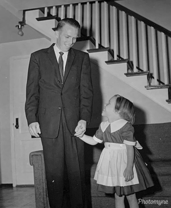 Dad and Daughter on 1st day of Kindergarten. USA 1959