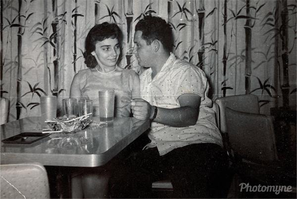 Dating and Pizza. RI, USA 1960