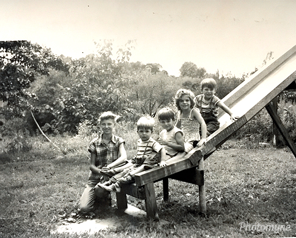 Bev with the LaVanchy cousins. US (year unknown)