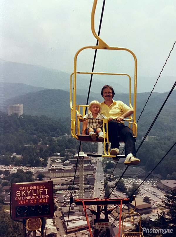 Me and Dad on the Gatlinburg Skylift. Tennessee, USA 1981