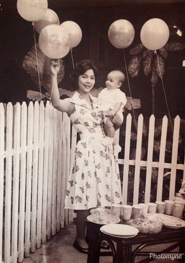 Mom and 1 year old mini-me. USA 1962