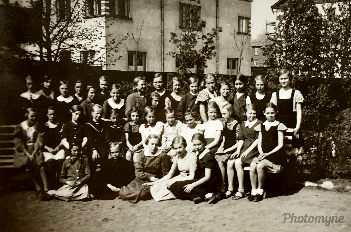 My mother (sitting first from right), fifth-grade students 1936/37, Tallinn, Estonia