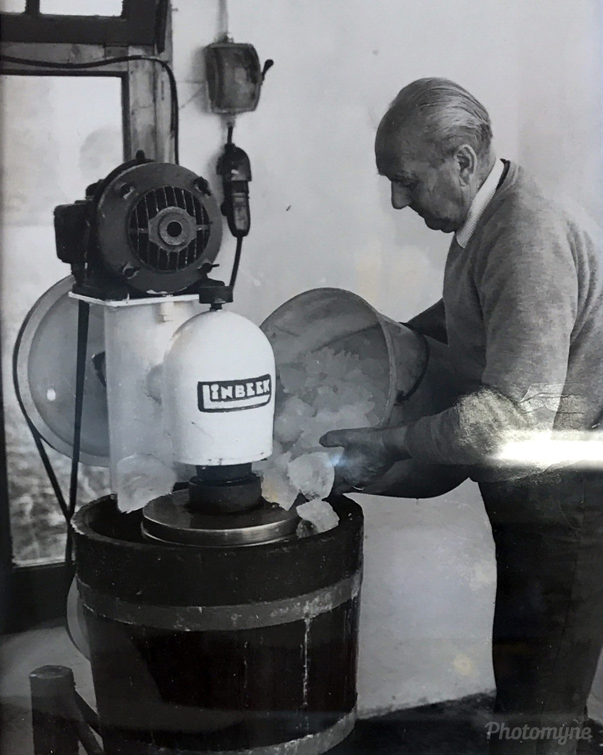 Mr. Willem Honingh preparing ice cream (secret recipe). Netherlands 1960