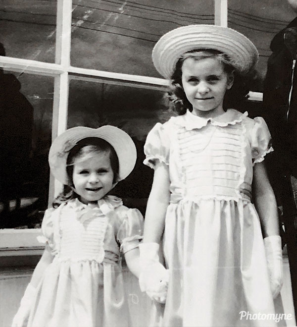 Judy, Sandra on Easter Sunday. USA 1950