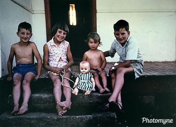 Graham, Gwen, Miriam the doll, Robyn and Gary at Kunama. Australia 1965
