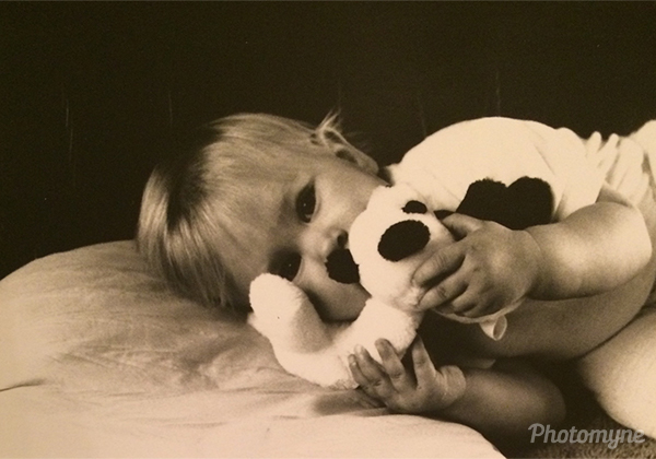 Andrea and her panda bear. NJ, USA 1991
