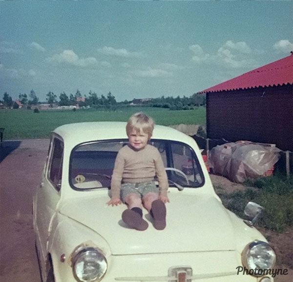 Jeff on Fiat 600. Belgium 1977