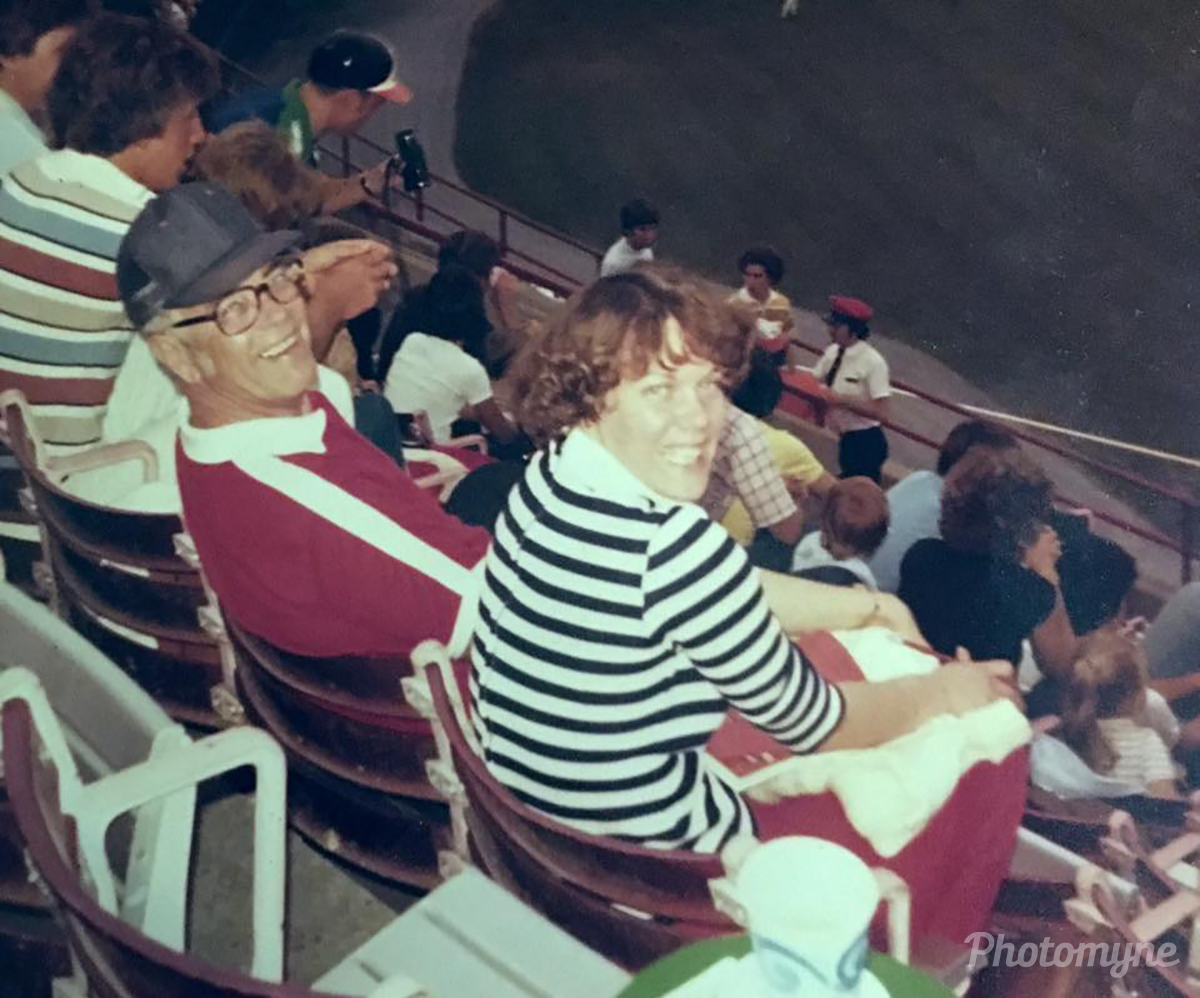 My dad, Paul Harwood and I at a Baltimore Oriole baseball game. This is my favorite picture of the two of us. USA 1978