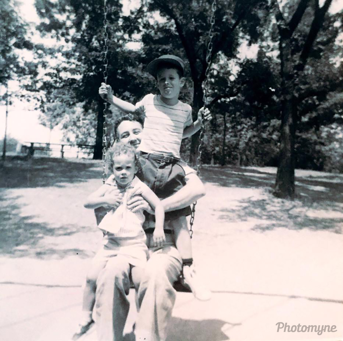 Here is my dad with my oldest brother and myself on one of our many picnics. He loved taking us on picnics and so did we! USA 1959