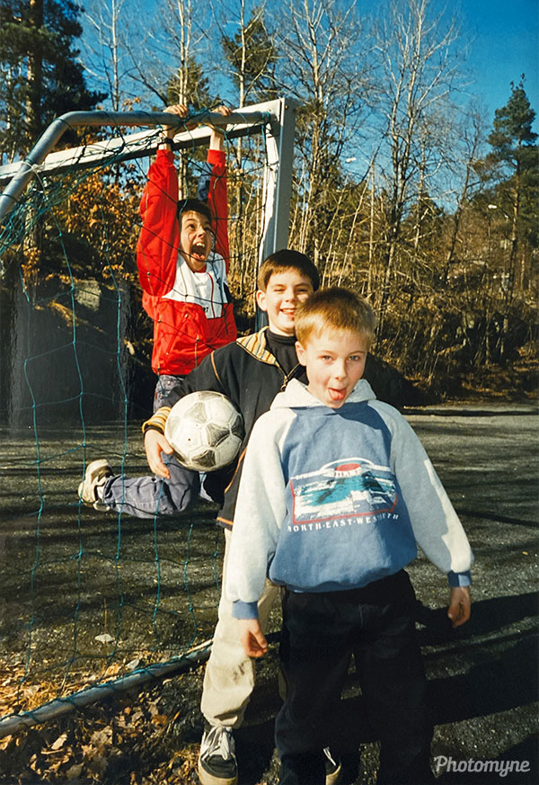 Three brothers on the soccer field. Norway 1996