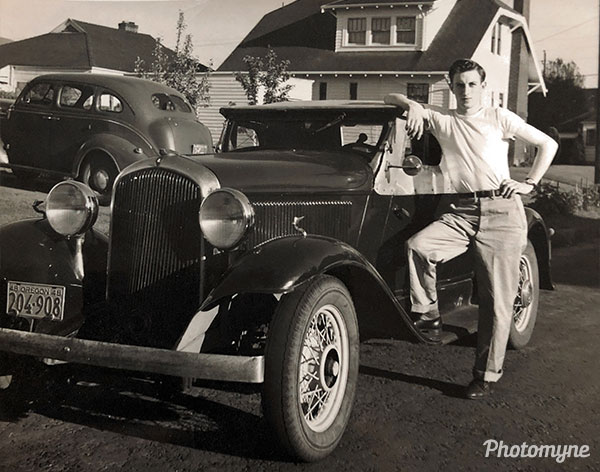 Hal and his car. USA 1950