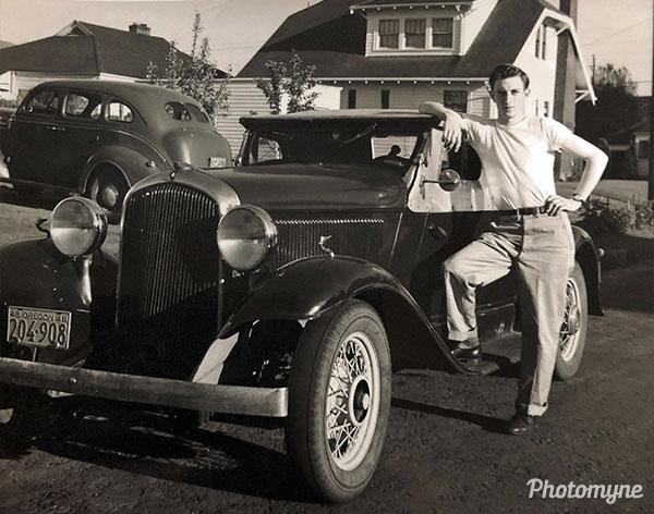 Hal and his car. USA 1950