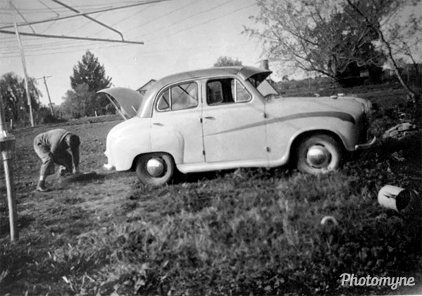 First new car on the family block at Farm 649, Wamoon. Its colours were fawn and tangerine. Australia (year unknown)