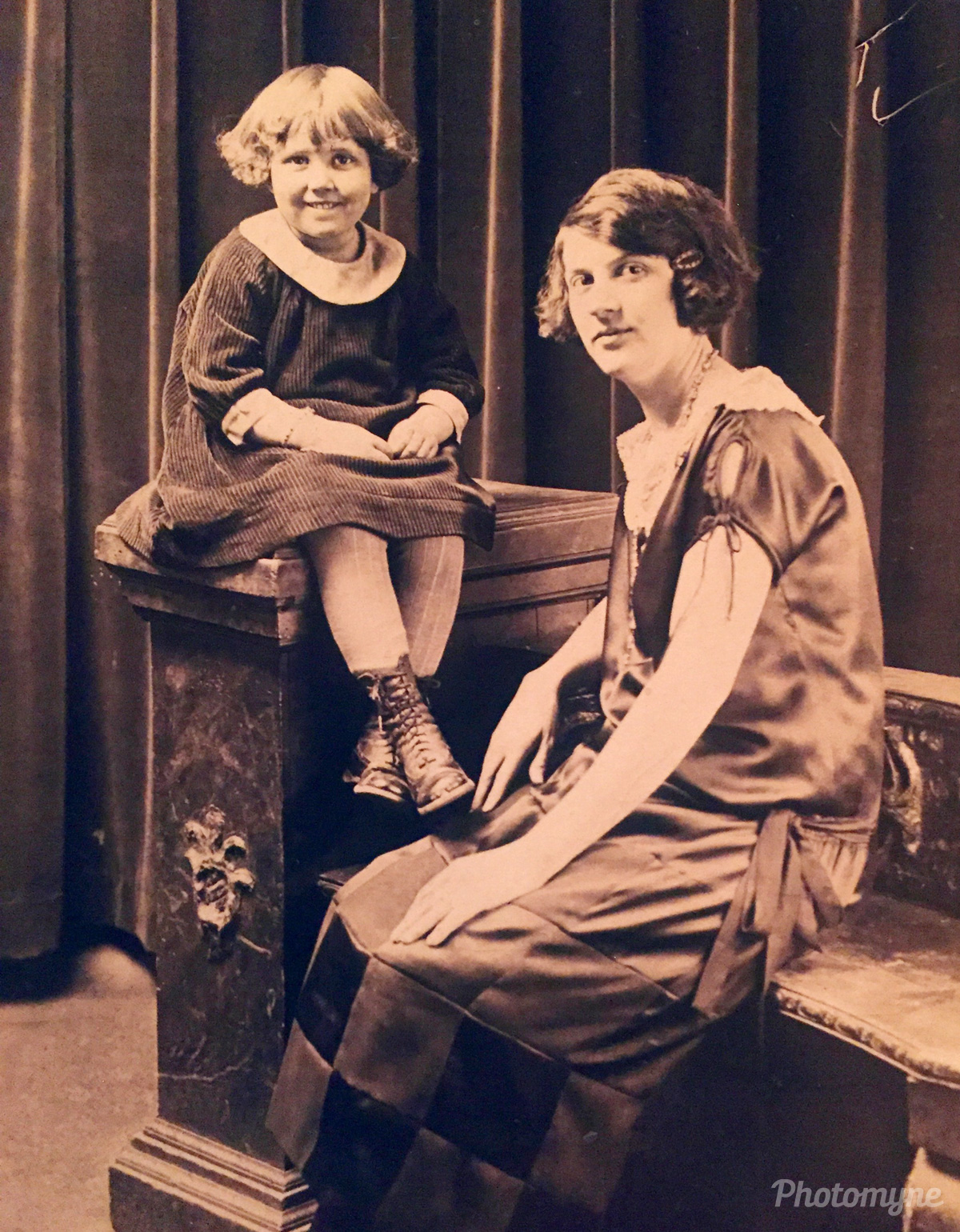 My Mother with her Mother. Mom raised 13 children. She was a great Mother. She taught us good values! Grandma Goldie was very strict but we loved her, 1925