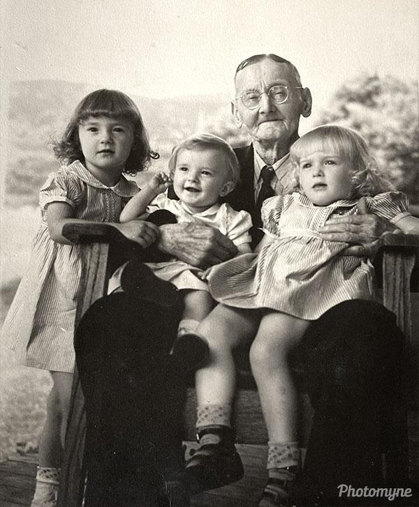 Grandpa Barber and 3 of his granddaughters. USA 1943