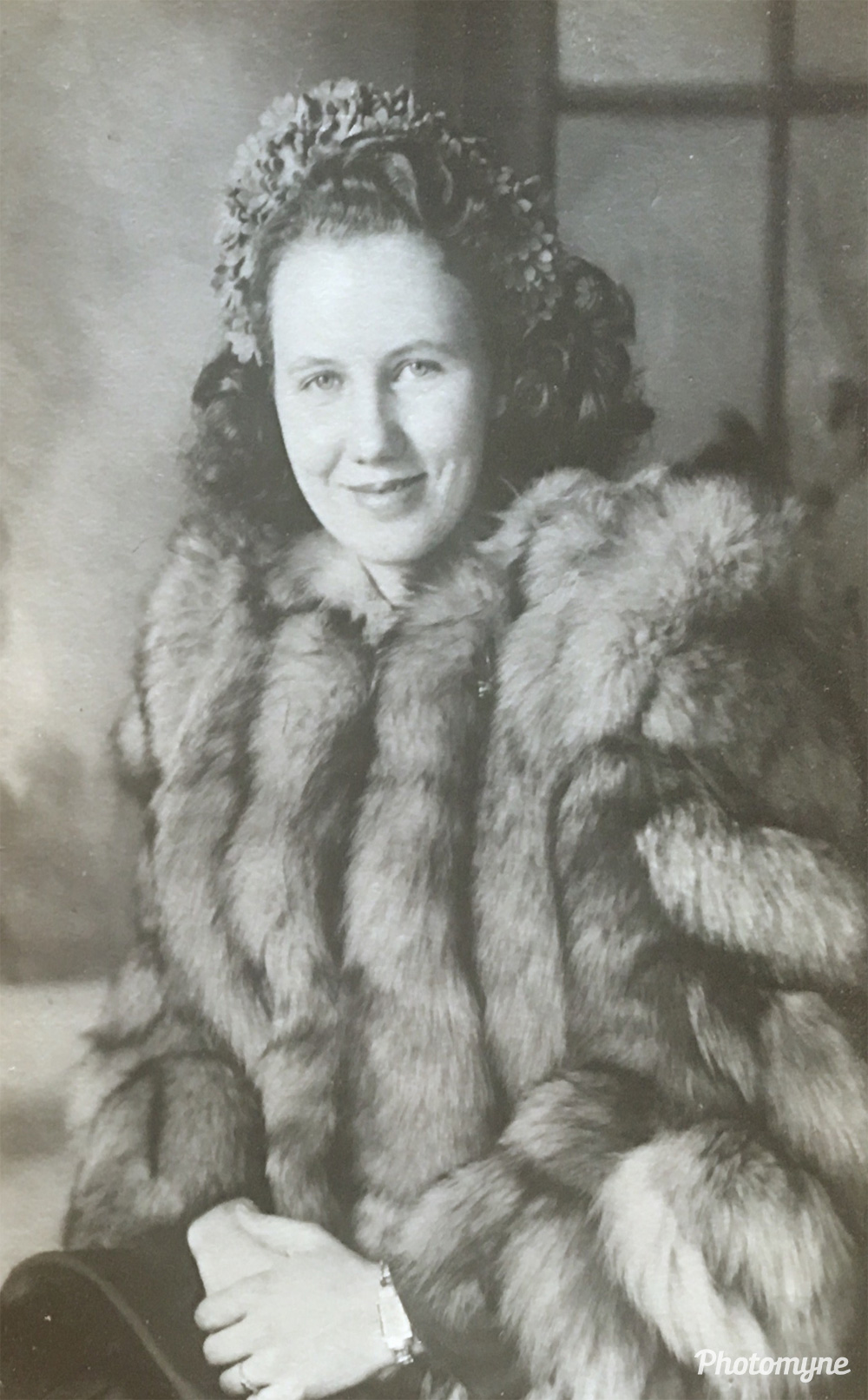 "Here's a picture of my Grandma Gladys Stone. My grandpa carried this picture with him during the war, and when he showed others her picture no one believed she was his wife. They said ""That is not your wife! That's a movie star."", 1942, US"