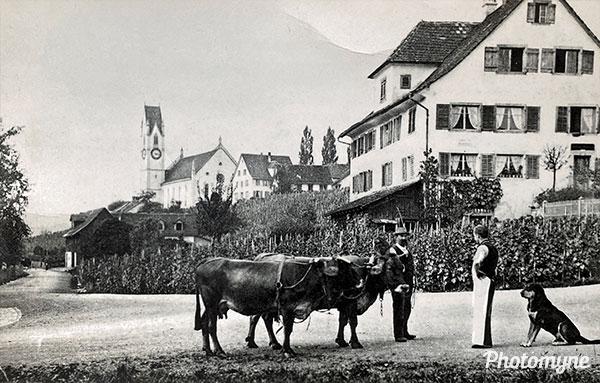 Ecke Alte Landstrasse und Hasenackerstrasse (Corner of Alte Landstrasse and Hasenackerstrasse). Männedorf, Switzerland 1900