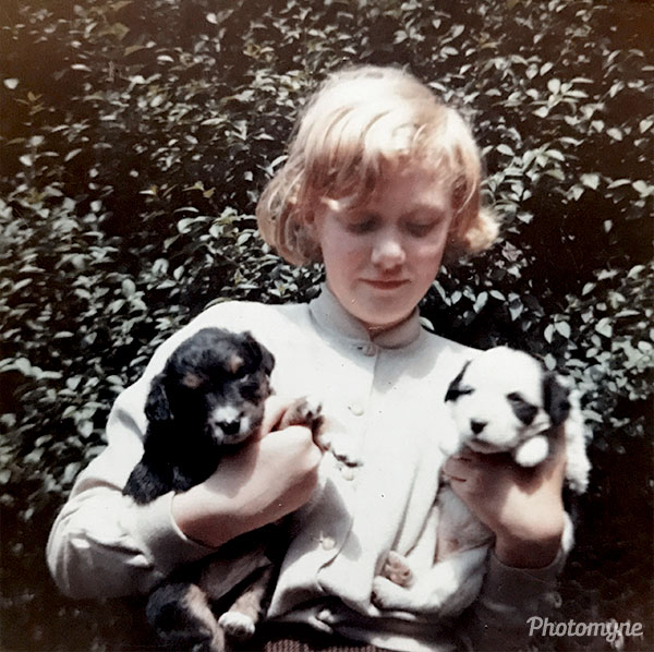 Me in the back garden of our house in Wetherby with two puppies from our dog Patchs 5th litter. UK 1960