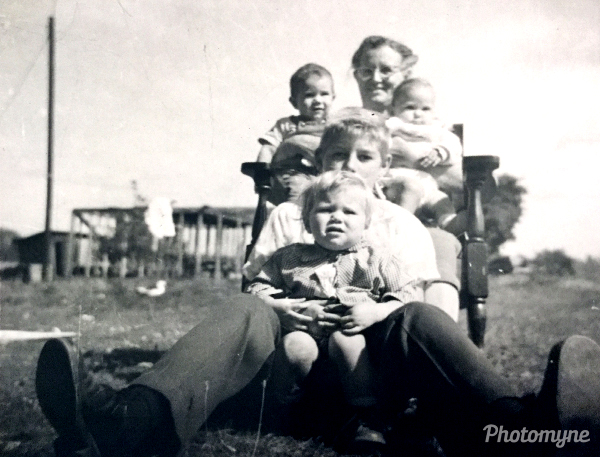Grandma Speck with grand kids. USA 1957