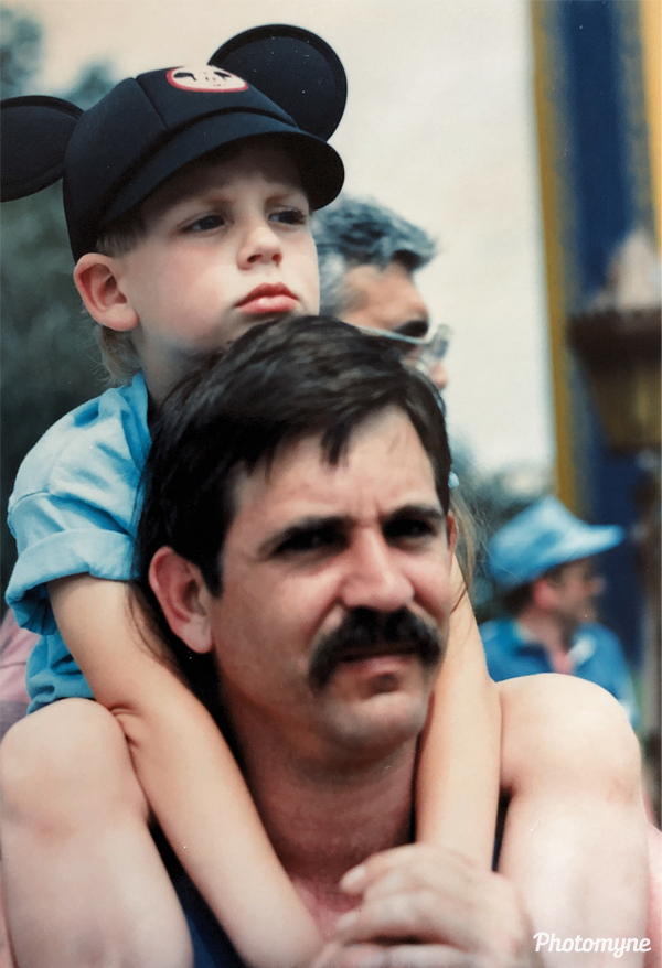 Adrian and his Dad at Disney World. USA 1990