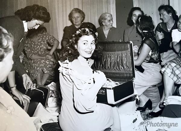 My mom at her bridal shower. Massachusetts, USA 1947